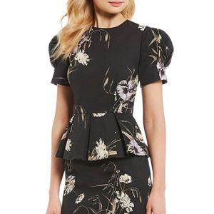 ANTONIO MELANI Floral Peplum Blouse Size 4 NEW